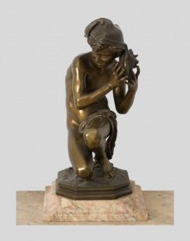 Bronze Carpeaux Pêcheur à la coquille