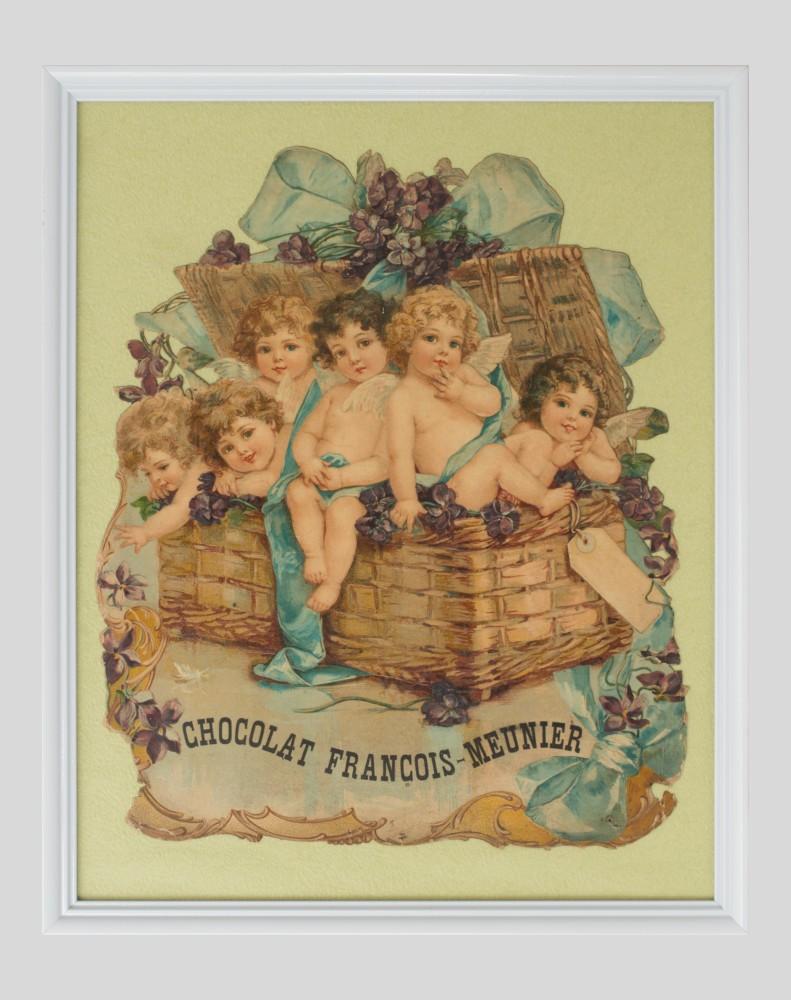 Chromolithographie publicitaire Chocolat François-Meunier